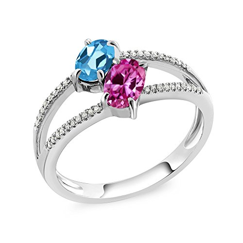 10K White Gold 1.28 Ct Swiss Blue Topaz Pink Created Sapphire Two Stone Ring
