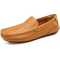 GIY Men Fashion Hollow Out Comfortable Soft Loafers Slip-on Driving Walking Casual Flat Shoes