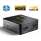 HDMI Splitter,Musou 4K/2K HDMI Switch Powered Splitter 1X2 Signal Distributor 1 In 2 out with 1080P and 3D Compatibility - Version 1.4a
