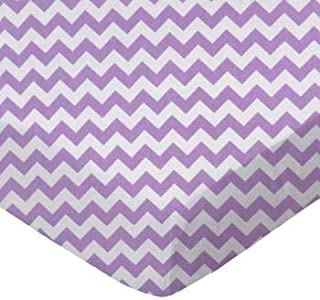 product image for SheetWorld 100% Cotton Percale Crib Sheet Set 28 x 52, Lilac Chevron Zigzag, Inlcudes 1 Fitted, 1 Flat, 1 Toddler Pillow Case, Made in USA