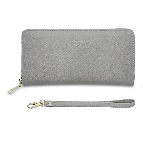 WOZEAH Women's RFID Blocking PU Leather Zip Around Wallet Clutch Large Travel Purse - Wallet Clutch Zipper