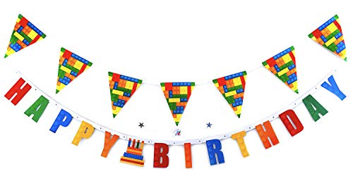 Building Block Happy Birthday Party Decorations - Happy Birthday Banner and flag For Building Blocks Theme Party - For Boy Kid Girl Toddler Adult - Birthday Kit Decorations - Building Blocks Flag And Banner -