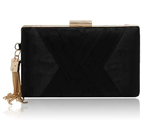 (Elegant Silk Satin Evening Clutch Purse Handbags for Women Vandysi Tassel Pendant Clutch Purses for Wedding Party Black)