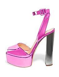 FSJ Platform Sandals for Women Thick heels Ankle Strap Buckle Pumps with Plus Size