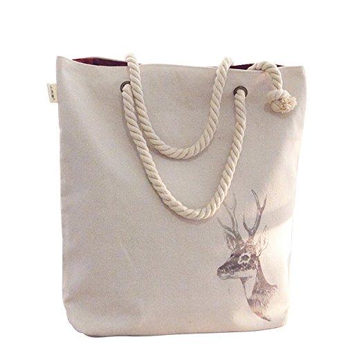 Donne ragazze cotone tela borsa a tracolla tote borsa