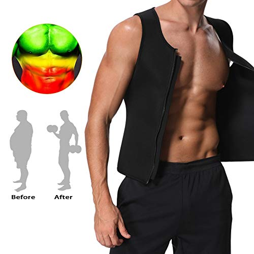 223046c9ae9aea DaliRo Men s Sweat Vest Body Shaper - Neoprene Tank Top and Sauna Vest  Zipper Waist Trainer