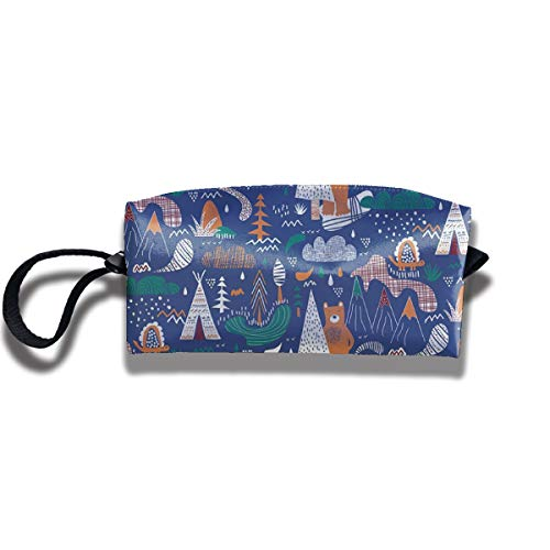 Kla Ju Portable Pencil Bag Cosmetic Pouch Camp Bear Cartoon Stationery Purse Storage Organizer