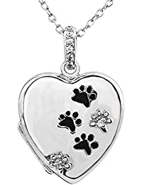 Tender Voices Diamond Accent Heart and Paw Print Engravable Locket in Sterling Silver