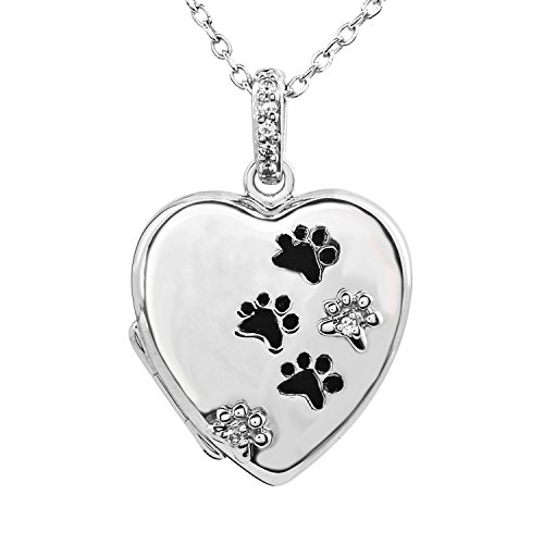 Engravable Locket - Tender Voices Diamond Accent Heart and Paw Print Engravable Locket in Sterling Silver