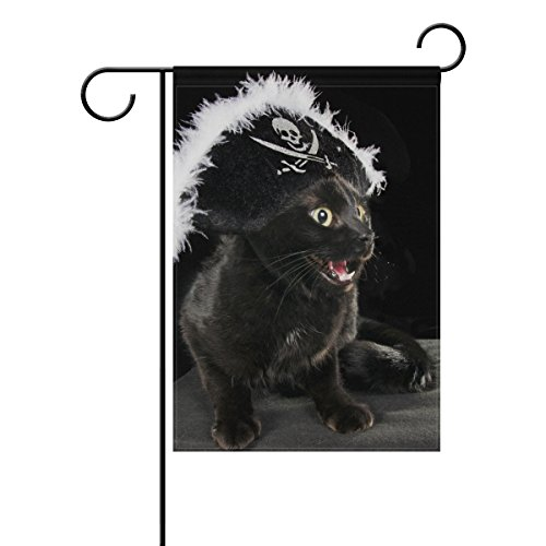 - Double Sided Funny Animal Pirate Cat I'm The Boss Polyester Garden Flag Banner 12 x 18 Inch for Outdoor Home Garden Flower Pot Decor