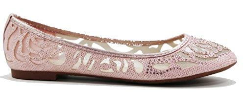 Walstar Women Basic Glitter Mesh Flat Slip on Shoes Pink gnUhWNfa
