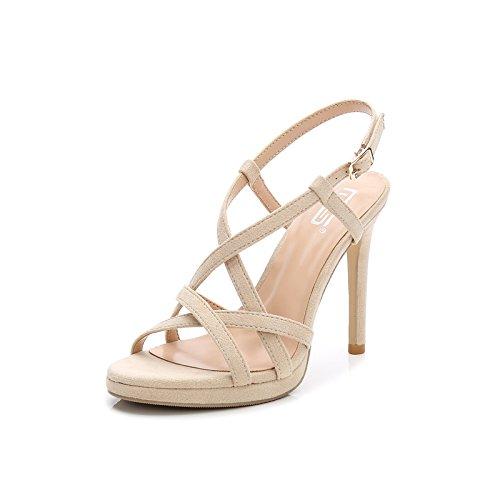 GAOLIM Sandalias De Verano Bajo Perfil Ranurado Hembra Atar Bien con Tacones Altos con Terraza Expuesta Y Cómodas Sandalias Zapatos De Mujer con Alto (Mayor de 8 Cm) Beige