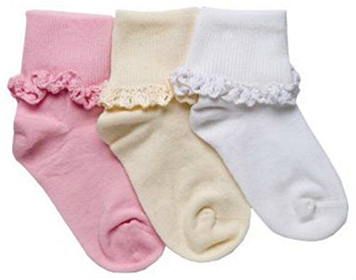 Tic Tac Toe Cotton Cluny Lace Turn Cuff Ankle Girl Dress Socks 1 Pair (8-9 1/2, White)