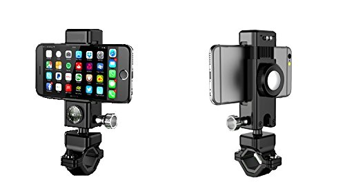 Bike Phone Holder, GPS holder for bike, 3 in 1 function: bike phone bracket, bike Light & bike compass, fit for 3.7\