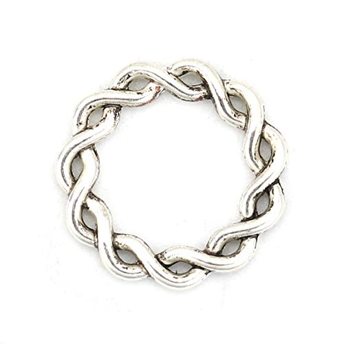 Circle Ring Twist Connector Findings 20 PCs, Antique Silver Tone 20mm (3/4 Inch) Antique Silver Tone Brooch