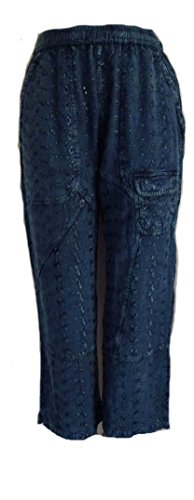 Sacred Threads Blue Acid Wash Dark Embroidered Eyelet Crop Pants (Eyelet Crop Pants)