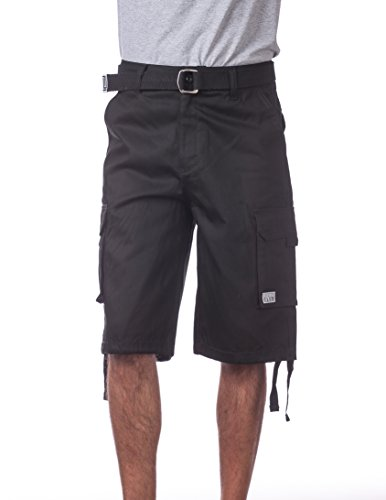 Pro Club Men's Cotton Twill Cargo Shorts with Belt, 38