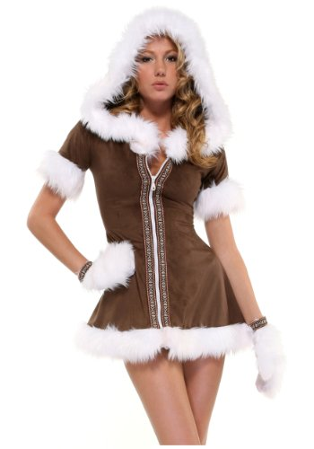 Kiss Costumes Women (Forplay Women's Eskimo Kisses Adult Sized Costumes, Brown, Medium/Large)