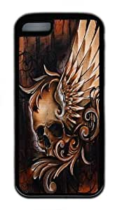 iPhone 5C Case, Winged Skull TPU Silicone Rubber Case Cover for iPhone 5C Black