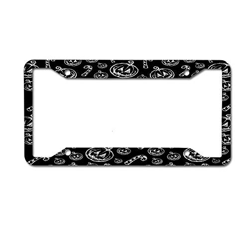 Mrsangelalouise Halloween Pumpkin Face Cane Hand Drawn Painting License Plate Frame Car tag Aluminum Car Licence Plate Cover for US Standard 4 Holes Screws -