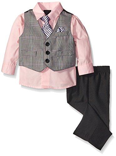 Van Heusen Baby-Boys Large Plaid Vest Set with Hanky, Light Pink, 6-9 Months