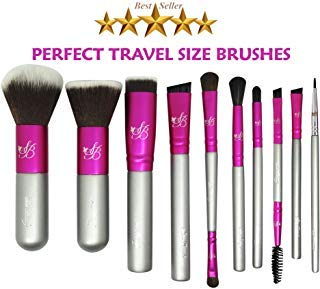 Makeup Travel Brush Set Brushes - Small Hard TRAVEL CASE INCLUDED Premium Essential Brushes For Traveling Application Of Powder Blush Foundation Eye Liner Eye Shadow Concealer and Contour Definition
