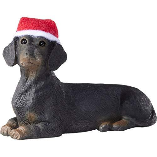 Sandicast Ornament Dachshund Black Lying with Red & White Santa Hat (XSO04405)