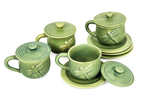 NOVICA Handmade Ceramic Cups & Saucers, Green, 8 oz, 'Dragonfly Myths' (Set of 4) by NOVICA