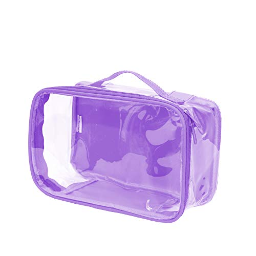 Clear Toiletry Makeup Bag, Cosmetic Organizer, Travel Case, PVC Plastic w/Handle (Lilac)