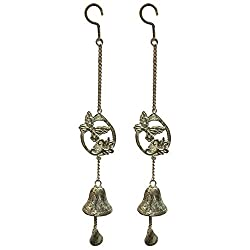 Manual Set of 2 Butterfly Shabby Chic Wrought Iron Bell Wind Noisemakers IMWCBB 23