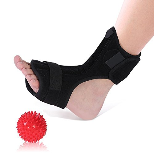 Plantar Fasciitis Night Splints for Drop Foot Orthotic Brace and a Hard Spiky Massage Ball Roller for Women and Men Sleeping and Resting, Fits Both Left and Right Foot – DiZiSports Store