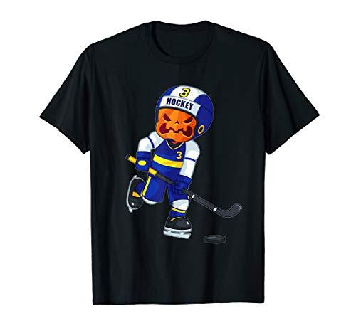 Halloween Pumpkin Hockey Player (Halloween Ice Hockey Player Pumpkin Head Scary Gift T-Shirt)