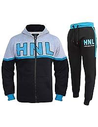 Kids Boys Girls Tracksuit Designer HNL Zipped Top Bottom Jogging Suit 7-13 Years