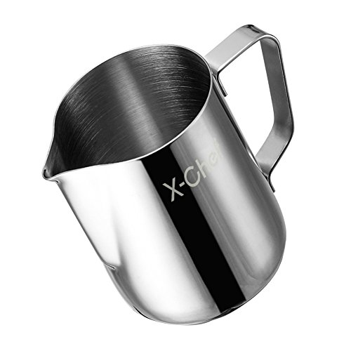 Milk Pitcher, X-Chef Stainless Steel Creamer Frothing Pitcher 20 - Accessory Spout
