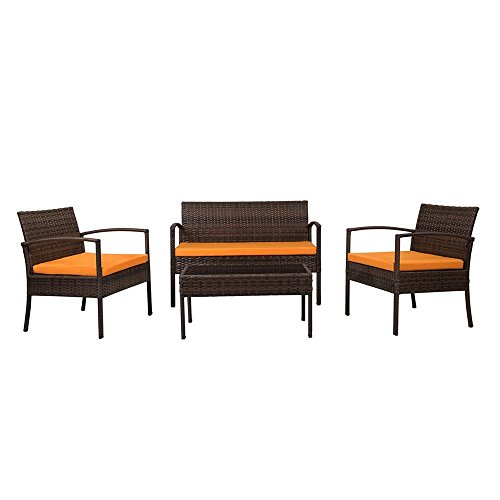 The-Hom Teaset 4 Piece All-Weather Patio Conversation Set in Orange (The-hom Outdoor Furniture)