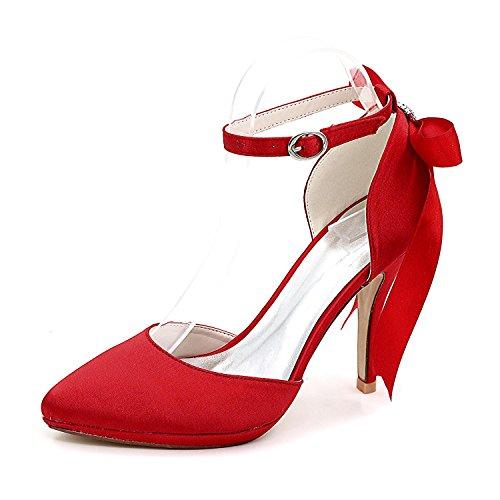 28 Toe Matrimonio Femminile Scarpe 0255 L Piattaforma Sposa Personalizzata Red Nastro Da Chiudi Rotonda yc Seta Top 1vnWHwq0