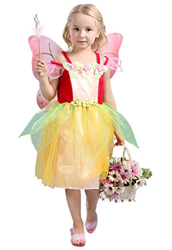 Ma&Baby Little Girl's Mesh Sleeve Princess Party Dress Up Fancy Dress Costume (M/For 3-4 Years, (School Girl Fancy Dress Halloween)
