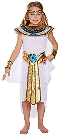 d4559bf576 Childs Girls 5 Piece White Cleopatra Egyptian Pharaoh History Fancy Dress  Costume Outfit 4-12y