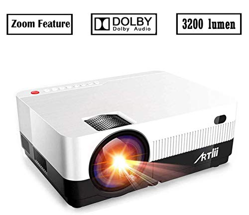 Portable Projector - Artlii 3200 Lumen Mini Projector for iPhone and Smartphone,1080P Support HD Projector with 180 Screen and Lens Zooming,HiFi Stereo,Compatible w/ Chromecast, Fire TV PS4 Nintendo