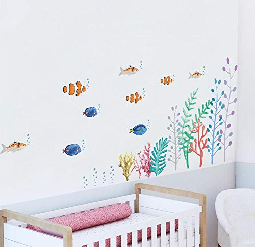 (BIBITIME Underwater World Wall Stickers Colorful Seaweed Algae Coral Fishes Vinyl Decals for Bathroom Tile Outside Glass Door School Classroom Nursery Bedroom Children Kids Room Decor)