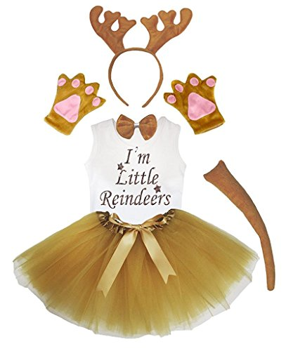 Petitebella Headband Bowtie Tail Gloves Shirt Skirt 6pc Girl Costume (Brown Reindeer, 5-6 Yr) Girls Reindeer Costume