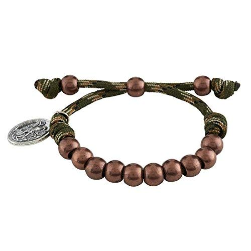 Faith and Service Jewelry Collection Paracord Camouflage Religious Bracelet with Silver Toned Saint Michael Medal, 9 Inch (Jungle Green)