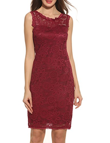 Acevog Women's Elegant Floral Sleeveless Lace Cocktail Evening Dress (Small, Wine Red)
