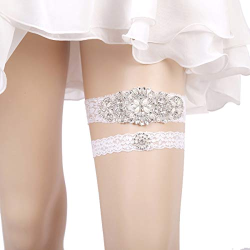 OURIZE Wedding Lace Garter for Bridal Rhinestones Garter Belt Set by OURIZE