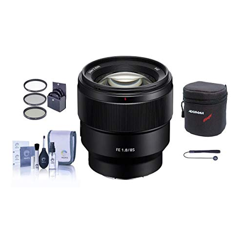 Sony FE 85mm F1.8 E-Mount Lens - Bundle with 67mm Filter Kit, Lens Case, Cleaning Kit, Capleash II