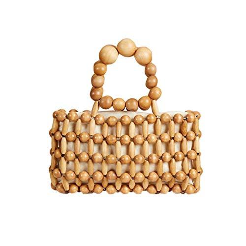 Wood Bead Messenger Bag Clutch Purse Wallet H bag Women Summer Beach Bags