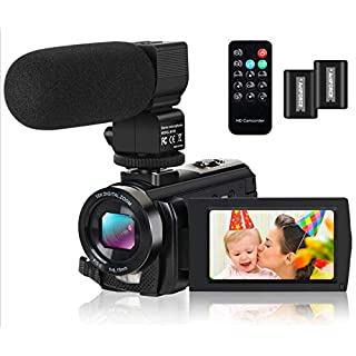 Video Camera Camcorder Digital YouTube Vlogging Camera Recorder FHD 1080P 24.0MP 3.0 Inch 270 Degree Rotation Screen 16X Digital Zoom with Microphone, Remote Controller 2 Batteries
