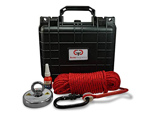 Brute Box 880 lb Magnet Fishing Bundle (3.54″ Magnet + Rope + Carabiner + Threadlocker)
