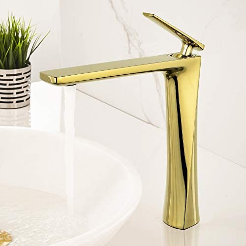 JOMOLA Bathroom Vessel Sink Faucet for Bowl Tall Single Handle Lavatory Vanity Sink Faucet One Hole Deck Mount Basin Mixer Tap Brass, Gold Finish