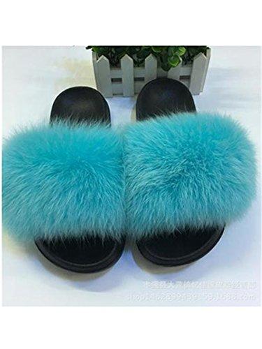 Fur Plush Jwhui Cute Sliders Sweet Shoes Fluffy 45 Large Hair Hot Fox Sale Slippers Flats fox Women Size Ladies hair Home blue Summer Furry rpRpI8qw